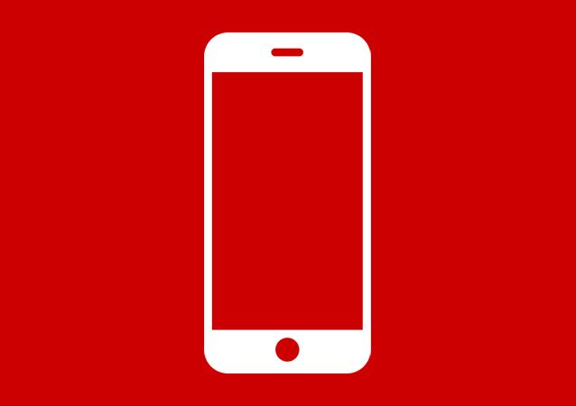 Icona telefono bianca rossa