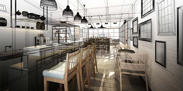 Rendering 3D ristorazione ambiente pubblico