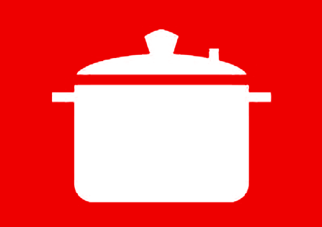 Icona pentola bianca rossa